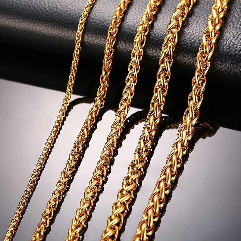"""Stainless Steel Gold Color Triple Rope Chain Men Necklace 24"""" Charm Jewelry 3mm 5mm 7mm Wholesale Price"""