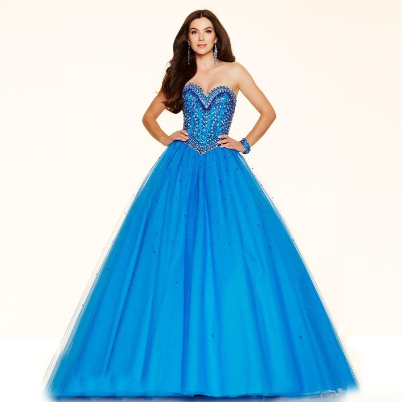 2019 бальное платье из органзы голубого цвета с блестками, украшенное бусинами, Длинное нарядное платье на шнуровке новые платья для выпускного вечера с милым вырезом