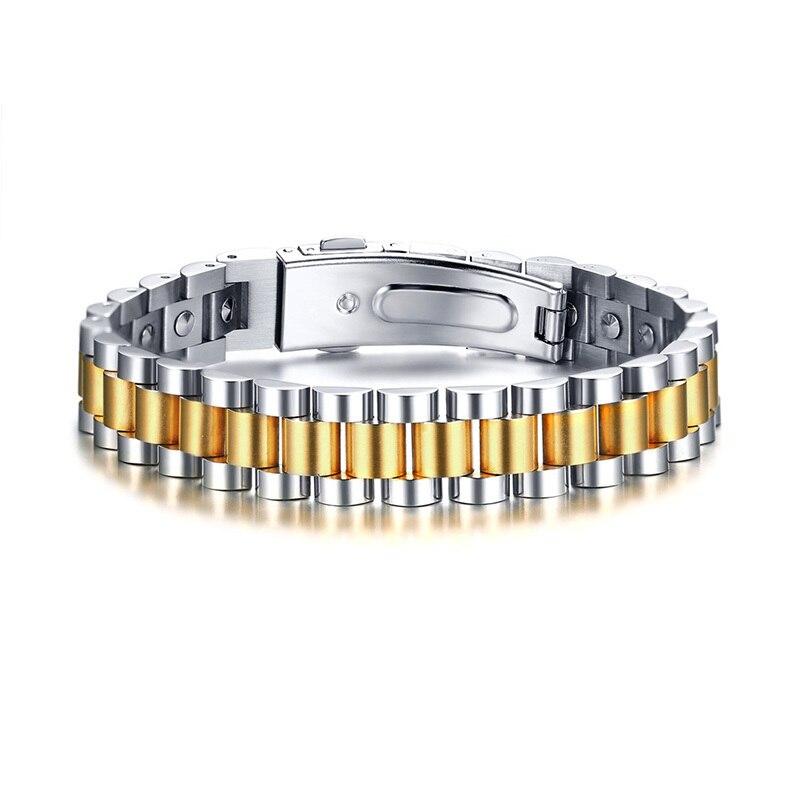 99.999% Pur Germanium Puce Montre-Style Magnétique Bracelet pour Hommes Femmes En Acier Inoxydable Deux Tons Bracelet Bracelet Couples Bijoux