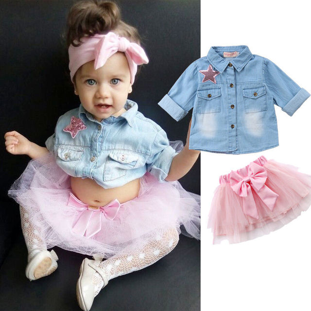 b34eecd4dd Moda Niño niños niña ropa Camisa vaquera de manga larga estrella Top Tutu  Tulle Bowknot falda