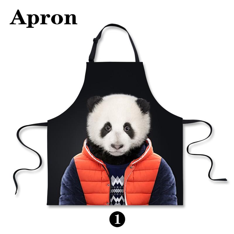 unique zoo animal bear print black kitchen aprons waiter