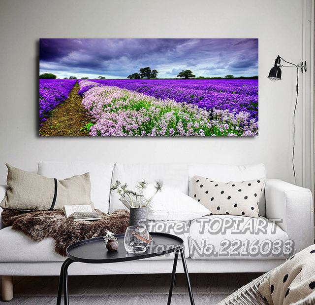 lavender wall painting modern decor purple landscape canvas prints