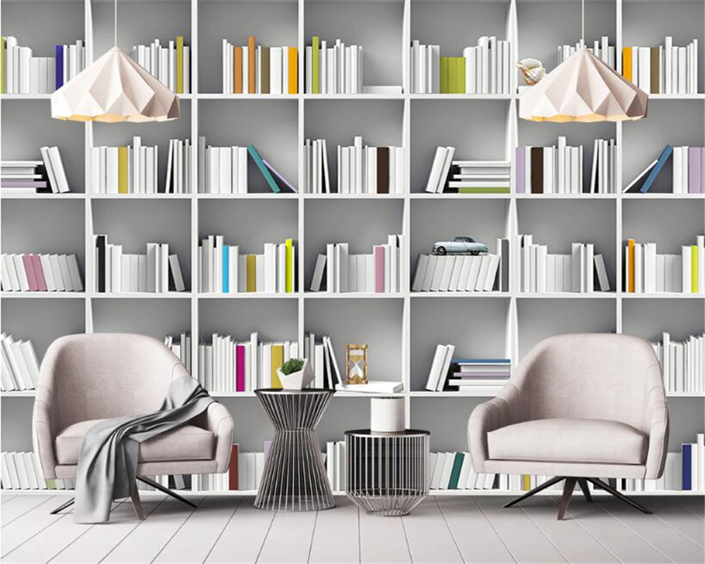 library modern wall study shelf bookcase living painting magazine beibehang 3d mural custom zoom wallpapers decoration