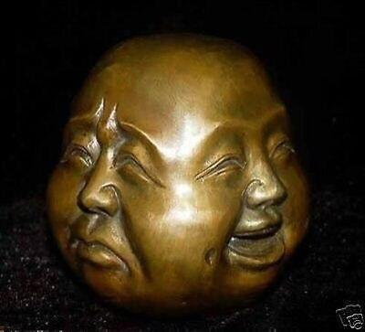 Super 4 expression Visage De Cuivre Bouddha Tibet 8.5x8x7 cm Jardin Décoration 100% Laiton réel