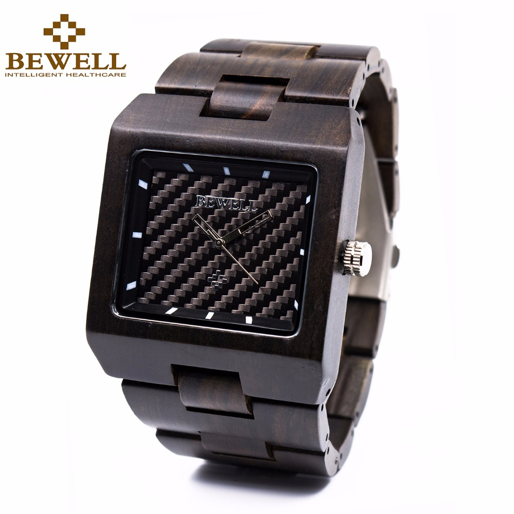 BEWELL Wood Watch for Mens Square Japan Movt Quartz Wristwatches Top Brand Luxury Relogio Digital Male Business Watch 016A tvg 801 male double movt quartz digital watch