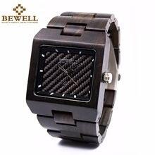 3e27f0d0b4d3 Bewell madera reloj para hombre cuadrado japón movt cuarzo relojes de  primeras marcas de lujo male
