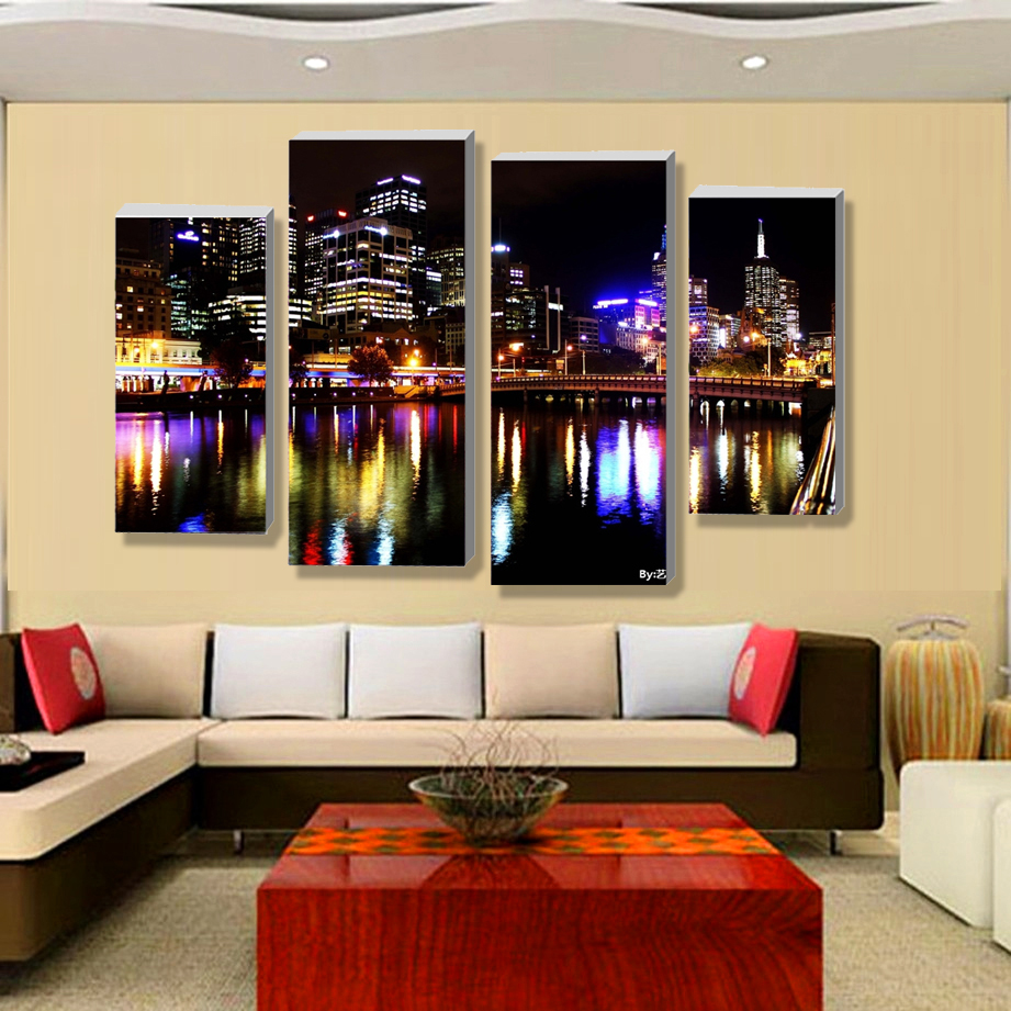Aliexpress Buy 4pcsno Framecity At Night Definition Pictures Canvas Prints Home Decoration Living Room Wall Modular Painting Print Cuadros From
