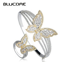 Blucome Fashion Butterfly Wide Big Bangles Rings Two Tones Rhinestones Wedding Party Jewelry Sets Finger Accessories For Women