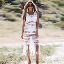 2019 New Crochet White Knitted Beach Cover Up Dress Tunic Long Beach Dress Bikinis Cover Ups Swim Cover Up Beachwear fringe sleeveless crochet tunic cover up