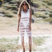 2019 New Crochet White Knitted Beach Cover Up Dress Tunic Long Bikinis Ups Swim Beachwear