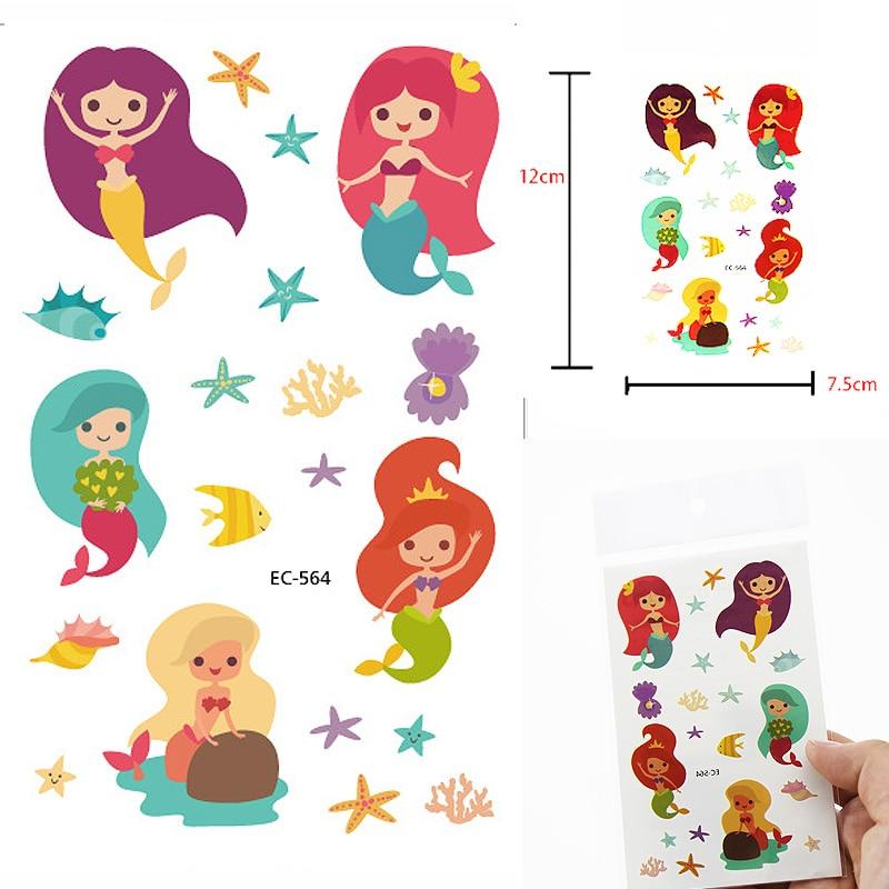 Cartoon Mermaid Cute Kids Children Fish Temporary Tattoo Sticker  Fake Flash Taty Tatoo For Girl's Party Gift