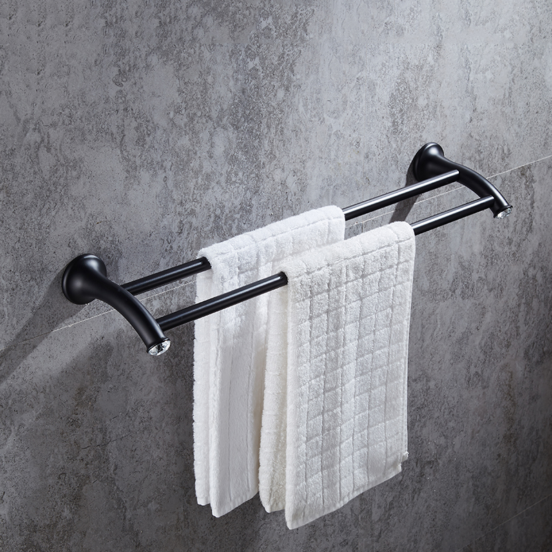 American Black Stainless Steel Chrome Towel Bar Towel Hanging Double Towel Rack Bathroom Accessories YM015 sucker bathroom towel rack stainless steel bar folding frame multi pole hanging