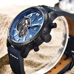 PAGANI DESIGN Watches Men Chronograph Genuine Leather Quartz Watch Waterproof 30M Sport Military Watch men relogio masculino