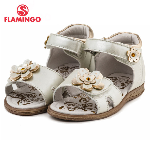 FLAMINGO 2017 Latest Design Hook & Loop Ankle-Wrap Girl Summer Shoe Children White Flower Decoration Breathable Sandals 61-QS118