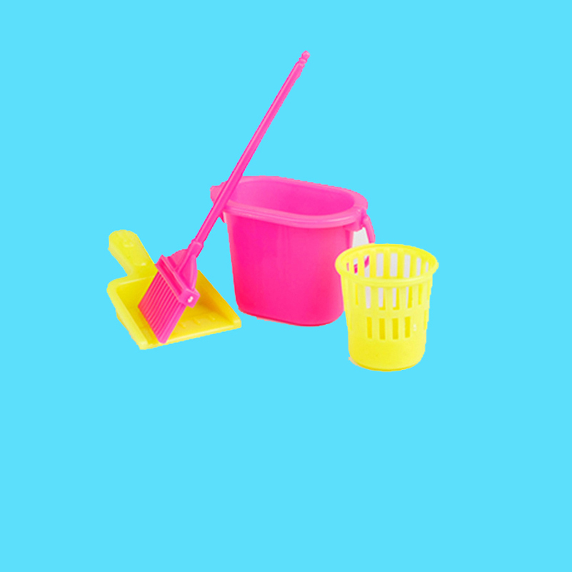 4 Pieces Set Cleaning Furniture Doll Universal Accessories Fashion Cleaning Tools Broom Mop Bucket Furniture