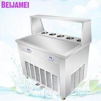 BEIJAMEI Large long pan frying fruit yogurt fry fried ice pan cream rolls machine with cooling tanks and compressor