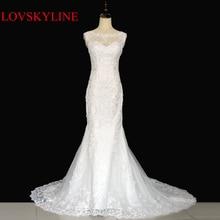 Ζεστό πώληση ελεύθερη ναυτιλία Κομψά όμορφα λουλούδια δαντέλα γοργόνα Φορέματα νυφικά vestidos de noiva robe de mariage νυφικό φόρεμα