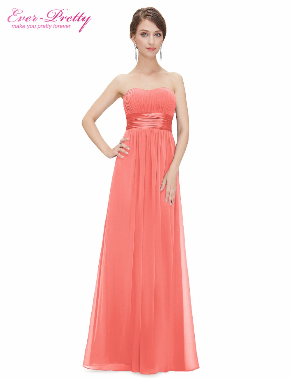 Long Bridesmaid Dress Sexy Chiffon Bow Coral Bridesmaid ...