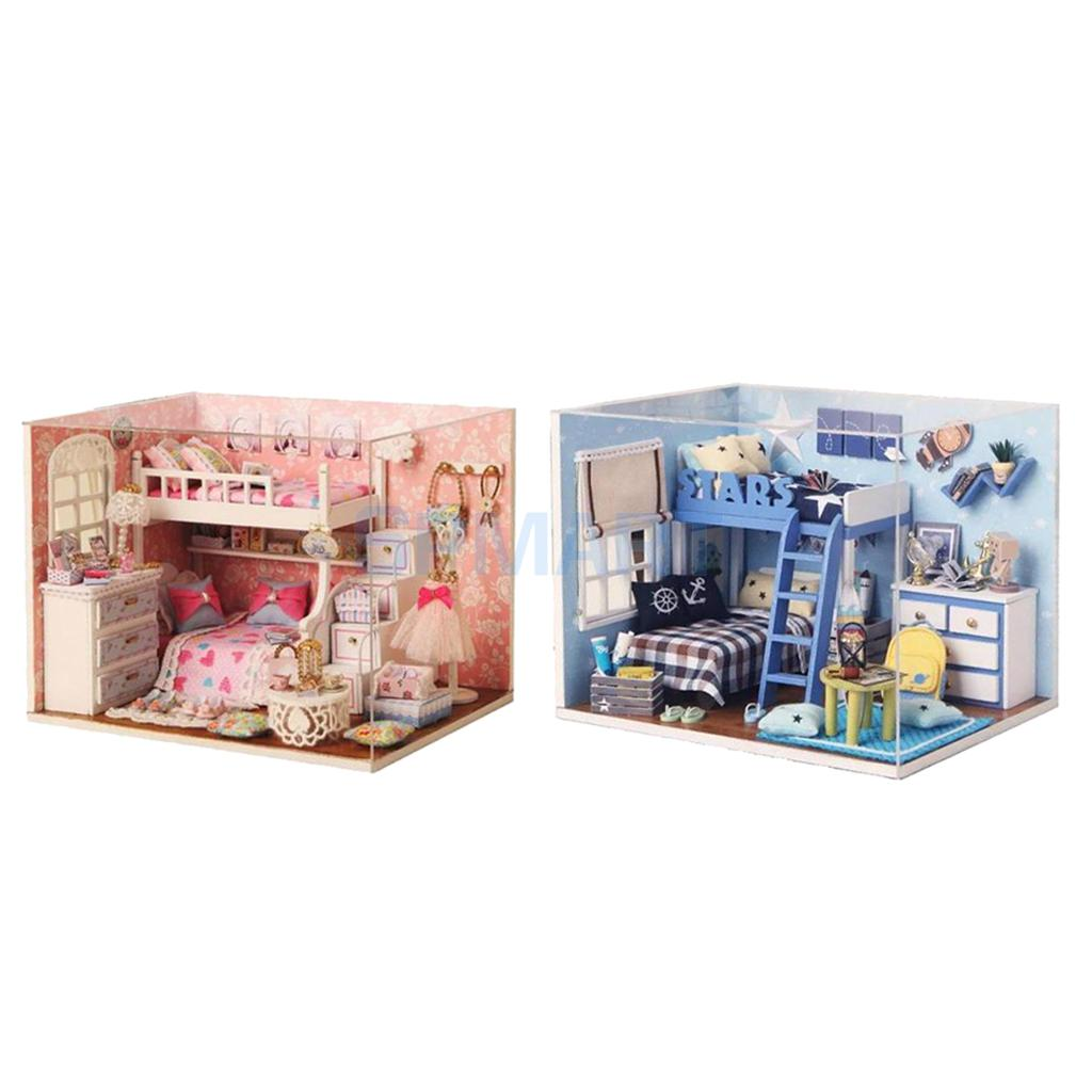 2 Sets DIY Miniature Dollhouse with Furniture Set and LED Light Doll Room Decor Kids Toy Birthday Gift