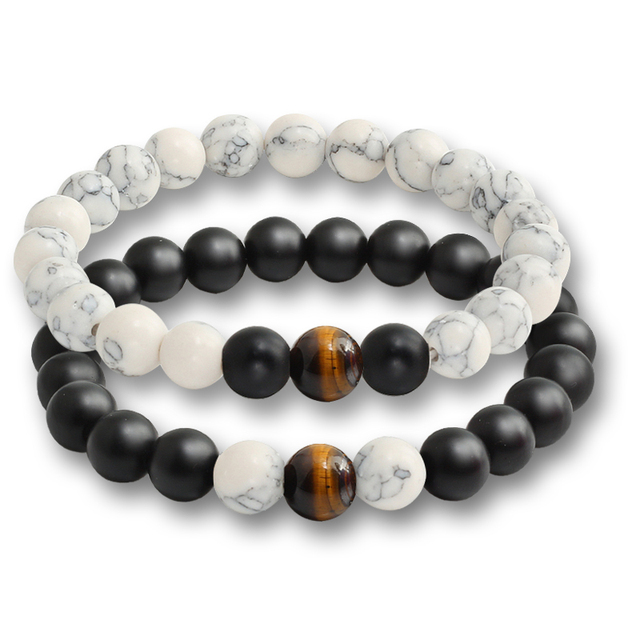 2 Pcs/set Fashion Couple Tiger Eye Stone Bracelets 3