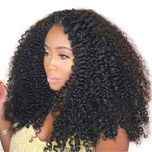 Alibele Hair Mogolian Afro Kinky Curly Lace Front Human Hair Wigs For Black Women Remy Hair Lace Front Wig 130 180 Density 10-22(China)