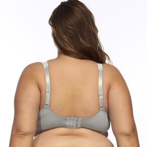 Image 5 - Women Underwire Plus Size Bras Full Coverage Non Padded Lace Brassiere Minimizer Underwear 32 52 DDD F FF G H Color Gray BH