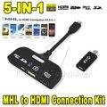 5in1 kit de conexão micro usb mhl para hdmi hdtv adapter connector + tf/sd leitor de cartão + cabo de dados otg para samsung s3/s4 note 2/3