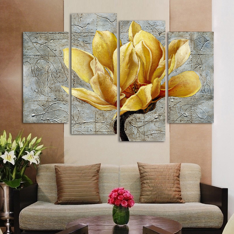 Fashion Unframed Abstract Painting 4 Panels gold Flower Modern Oil Painting On Canvas Wall Art Gift ,Top Home Decoration