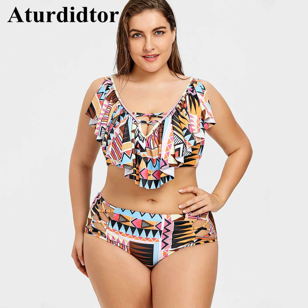 b9dc1c2e45 Plus Size Bikini Set Cross Front Geometric Floral Print Swimwear Women  Bodysuit Bathing Suit Large Beach