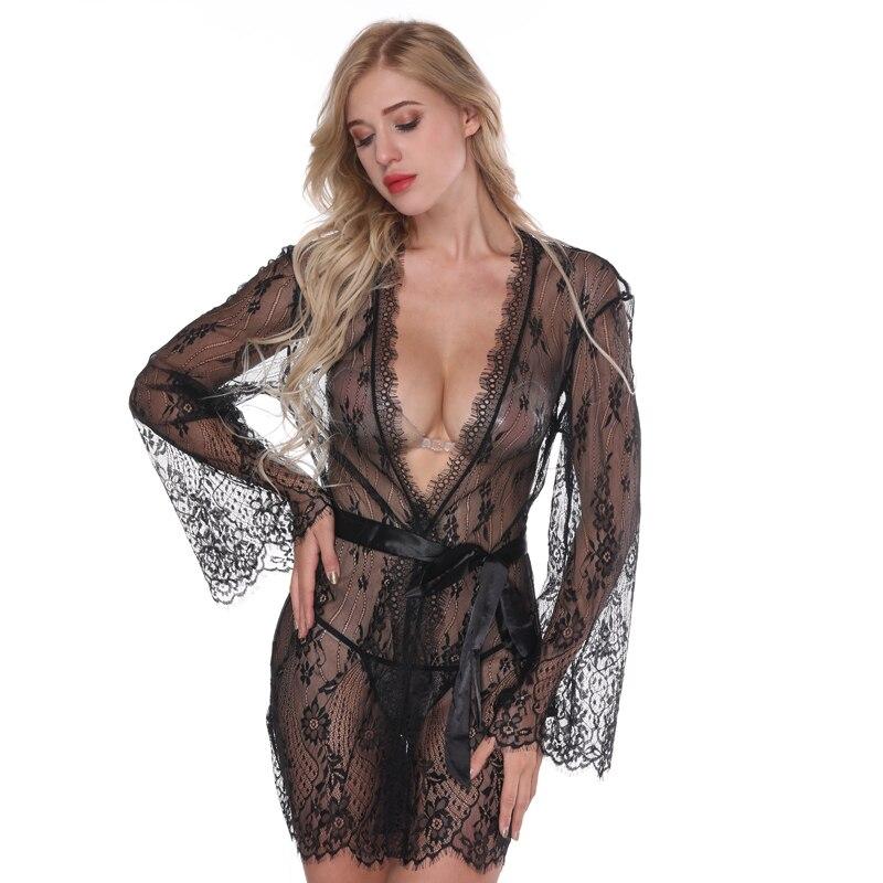 NINGMI Sexy Robe Lingerie chemise de Nuit Érotique Sous-Vêtements Nuisette Sex Costumes Nuisettes G-string Satin De Soie En Dentelle Kimono vêtements de Nuit