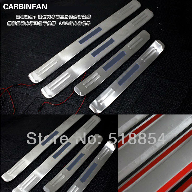 Stainless steel Blue LED Door Sill Scuff Plate protector step cover Sticker For KIA Sportage 2005 2006 2007 2008 2009 2010