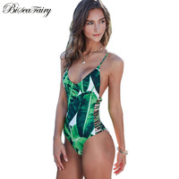 2016 Sexy One Piece Swimsuit Women Swimwear Green Leaf Bodysuit Bandage Cut Out Summer Beach Bathing
