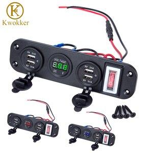 Двойное зарядное устройство USB для прикуривателя, вольтметр, светодиодный вольтметр, вкл. ВЫКЛ., тумблер для автомобиля, лодки, морского груз...