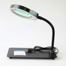 Crafts Glass Lens LED Desk Lighting Magnifier Lamp Light 5X Magnifying Desktop Loupe Repair Tools with 48 LEDs Stand