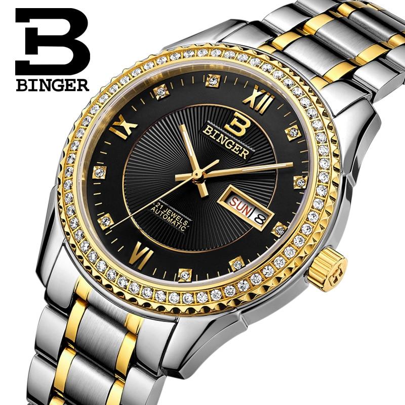 Switzerland watches men luxury brand Wristwatches BINGER diamond Mechanical Wristwatches full stainless steel Waterproof B1112B