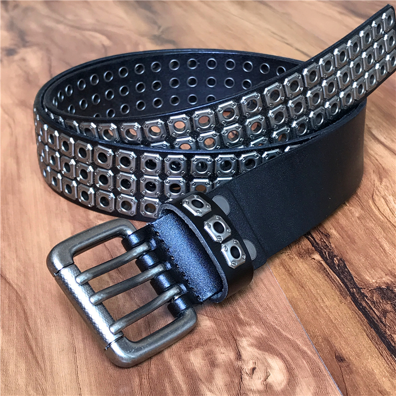 Punk Men Belt Genuine Leather Belt Male Cowboy Rock Rivet Black Strap Ceinture Homme Riem Jeans Studded Western Belt MBT0162