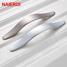 NAIERDI ручки для шкафа, круглая ручка из алюминиевого сплава двери кухонные ручки шкаф тянет ящик оборудование для обработки мебели 128 мм/160 мм