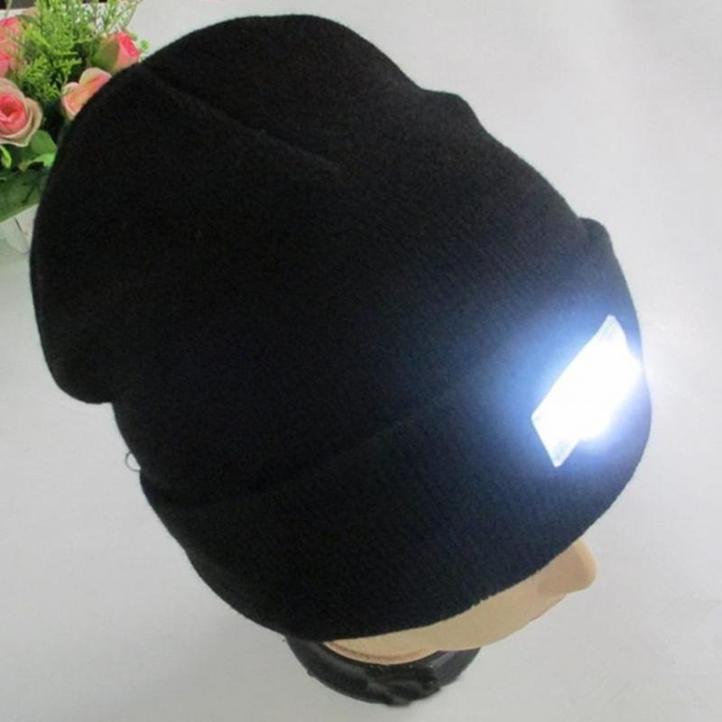 Camping Running Lighting Caps LED Light Hat Portable Head Lighting Lamp Gorro Beanies Night Fishing Hunting Knitting Woolen Hats