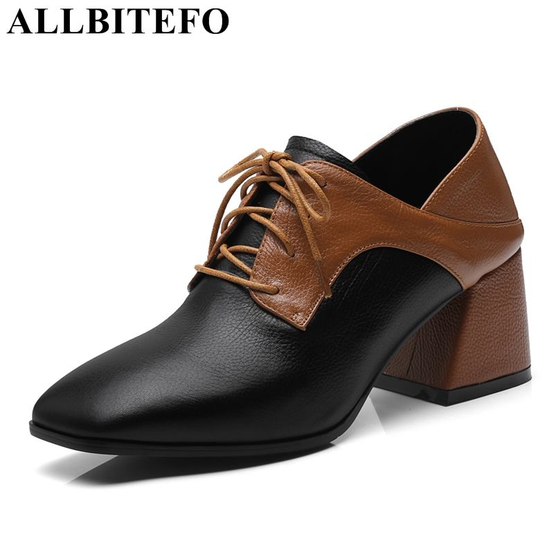 купить ALLBITEFO size:34-42 genuine leather square toe thick heel women pumps women high heel shoes mixed colors office girls shoes по цене 3134.68 рублей