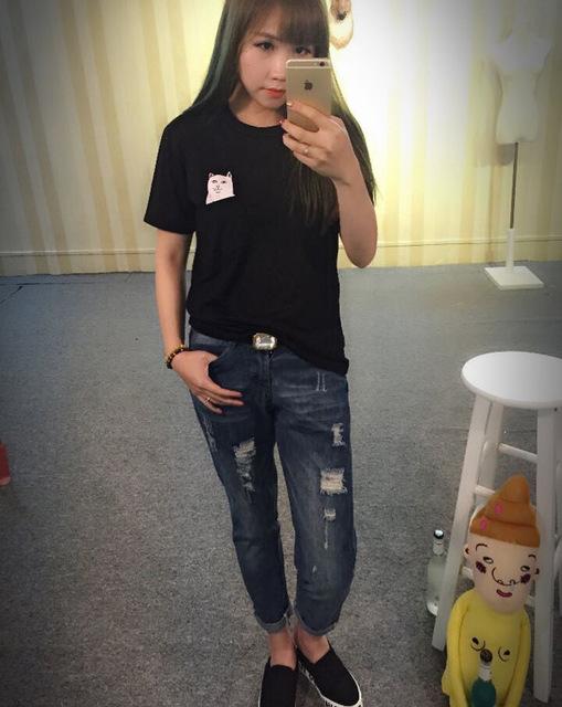 2017 Summer T-shirt Women Casual Lady Top Tees Cotton Tshirt Female Brand Clothing T Shirt Printed Pocket Cat Top Cute Tee S-4XL
