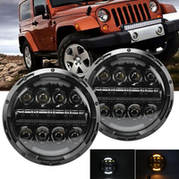 2pcs Headlight For Hummer H1 H2 DOT 7 Inch 90W Round LED Headlight Projector DRL Hi Low Beam For Wrangler JK TJ Car Accessories