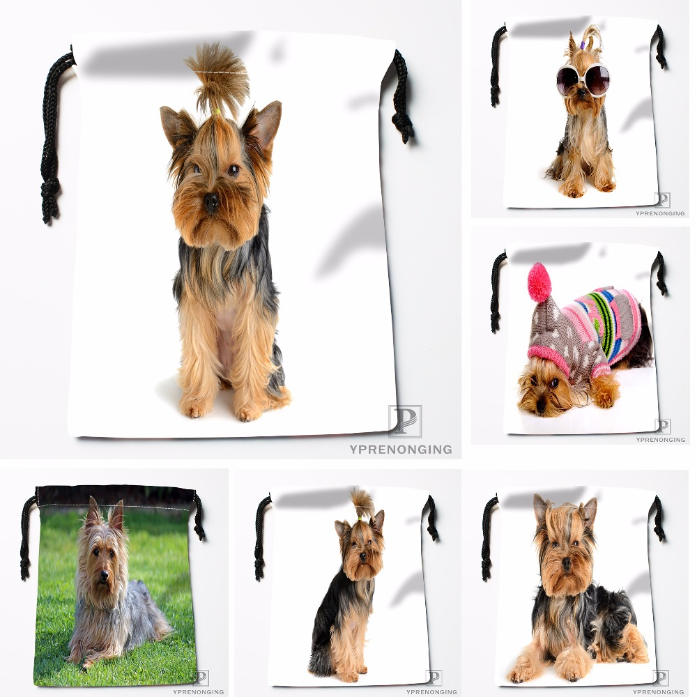 Custom Yorkshire Terrier Kurz Drawstring Bags Travel Storage Mini Pouch Swim Hiking Toy Bag Size 18x22cm#412-04-09