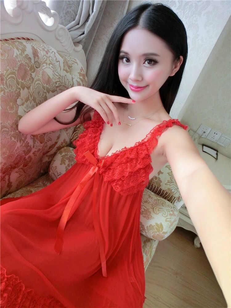 Seksi uzun Nightdresses prenses iç çamaşırı büyük boy gecelikler kadın yaz kırmızı siyah gelin pijama gece elbisesi