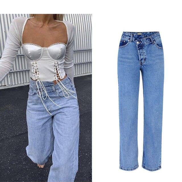 Blue Wide Leg Pants Women Summer Autumn Solid High Waist High Street Ladies Mom Pants Plus Size