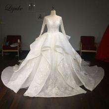 cecb16fe575 Liyuke Vintage Princess Scoop Neck Ball Gown Wedding Dress Silky Appliques Lace  Chapel Train Full Sleeves Elegant Bridal Dress