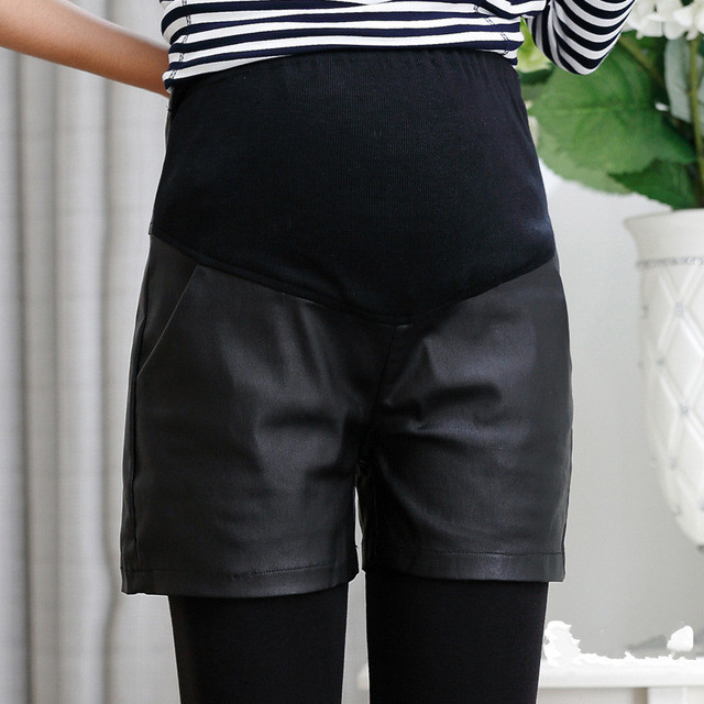 Summer Plus Size Shorts for Pregnancy Clothes Pregnant Women Pu Leather Maternity Shorts Pants Maternity Clothing Shorts Capris