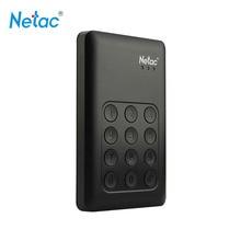 Netac K390 USB 3.0 внешний жесткий диск 500 ГБ 1 ТБ 2 ТБ блокировка клавиатуры AES 256-битной оборудование шифрования HD экстерно диско HDD диск