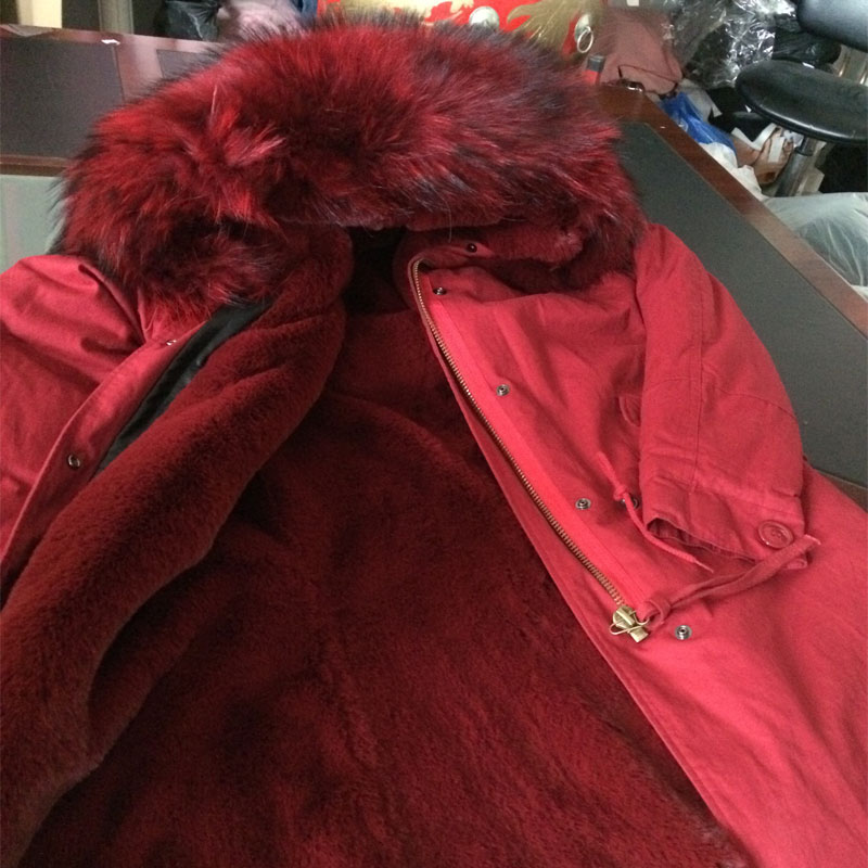 Good quality Fashion red wine faux fur inside winter coat raccoon fur hooded woman Jacket free shipping