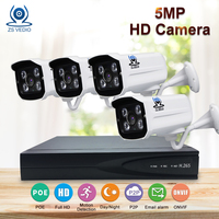 ZSVIDEO Surveillance System Security Camera POE Home Outdoor Motion 5MP Infrared Night Vision H 265 NVR
