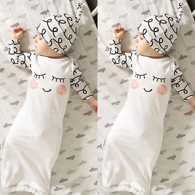 Cut Newborn Baby Clothes Sleepy Eyes+Rosy Cheeks Baby Gown Hat Infant Newborn Coming Home Sleepwear Sleeping Bags